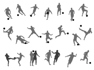 Soccer football player silhouette cutout outlines for World Cup