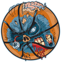 Zombie Basketball Vector Cartoon