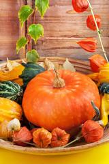 Decorative halloween pumpkins background, still life.