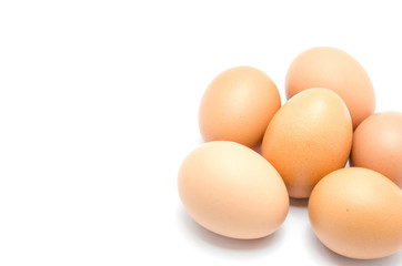 Close up of an egg isolated on white background