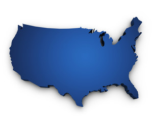 Map Of USA 3d Shape