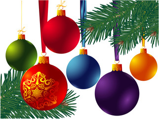 Christmas decoration with a pine tree and balls. Vector.
