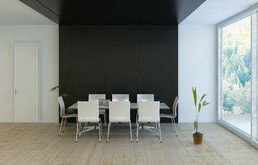 Modern luxury black dining room with elegant white furniture