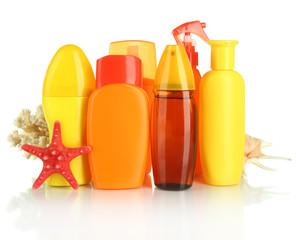 Bottles with suntan cream isolated on white