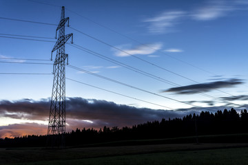 Electrical tower at dusk