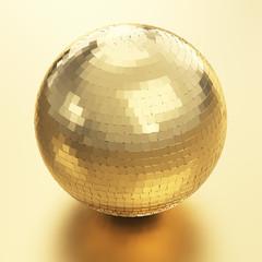 Disco ball 3D render on golden background