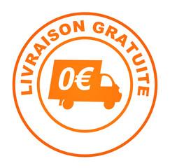 Fototapete - livraison gratuite sur bouton web rond orange