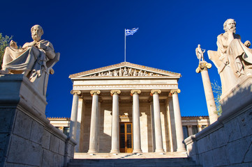Academy of Athens with Plato and Socrates monument. .