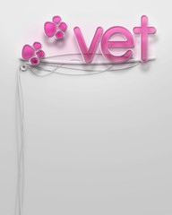 Glowing neon signboard with Vet word, copyspace