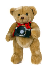 Toy bear with a camera