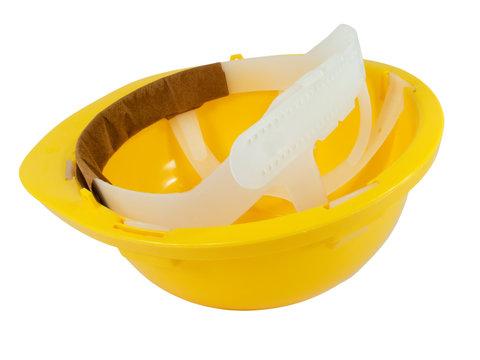 New yellow hardhat isolated on white background
