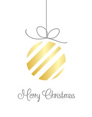 Merry Christmas vector background in gold on white