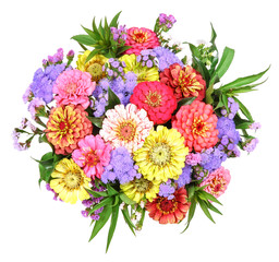 Colored bouquet of flowers with zinnia . . .