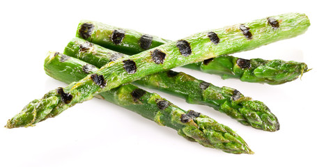 Grilled shoots of asparagus.
