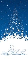 Weihnachtskarte mit Tannenbaum aus Sternen