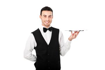 Waiter holding an empty dish
