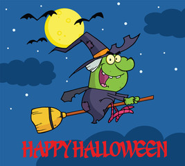 Happy Halloween Greeting With Witch Ride A Broomstick