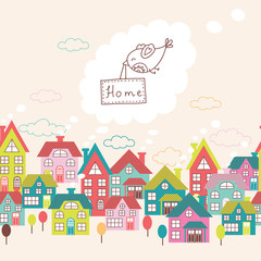 Houses seamless ornament. Cute vector background with doodle cit