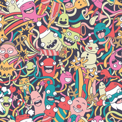 Wall Mural - Christmas seamless pattern with cute crazy monsters