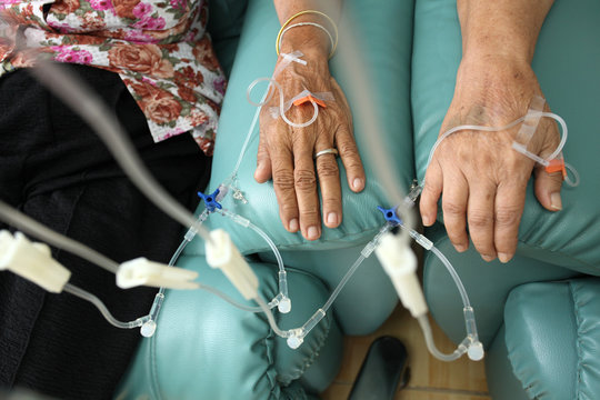 Patients getting intravenous chemotherapy