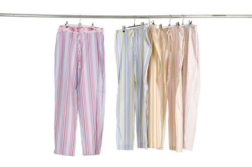 casual fashion leisure trousers on a hanger