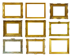 gold picture frames. Isolated over white