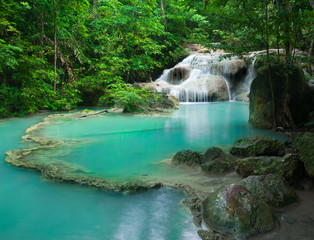 Waterfall in tropical forest at Erawan national park Kanchanabur
