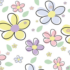 Canvas Prints Abstract Floral Seamless Flower Vector Background