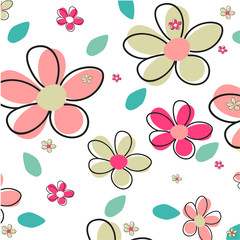 Canvas Prints Abstract Floral Seamless Summer Flower Vector Background