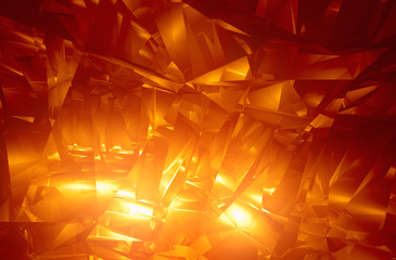 Shiny orange facet background - computer generated 3D render..