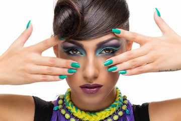 Fototapeta Girl with fancy hairstyle and makeup obraz