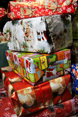 Christmas gifts in the vivid boxes