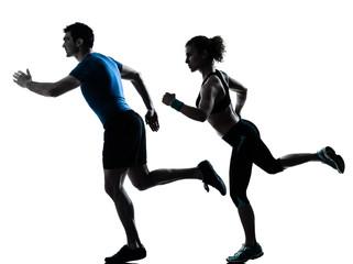 Wall Mural - man woman runner running jogging sprinting