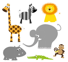 African animals collection- vector illustration