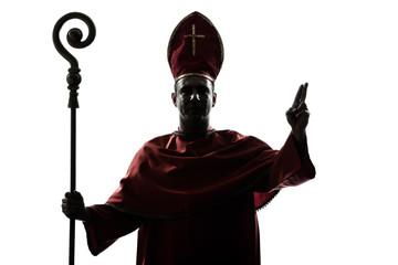 man cardinal bishop silhouette saluting blessing Wall mural