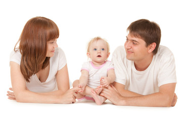 Happy family lying on the white background
