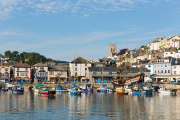 Wall Mural - Brixham harbour Devon with boats and blue sky