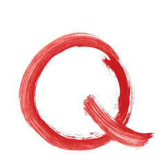 q - Red handwritten letter over white background lower case