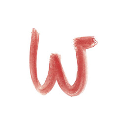 w - Red handwritten letter over white background lower case