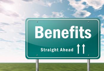 """Highway Signpost """"Benefits"""""""