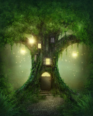 Fototapete - Fantasy tree house
