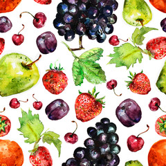 Fruit seamless texture watercolor
