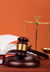 gavel, books , and scales of justice