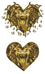 Gold lion heart
