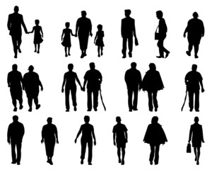 Silhouettes of people walking, vector