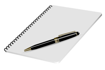 Vector realistic illustration notepad with luxury pen