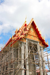 Construction of Buddhist temple in Thailand