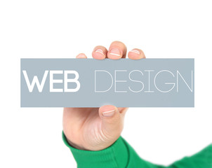 woman holding a label with web design