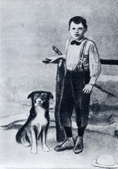 Jack London and his dog Rollo (nine years old, 1885)