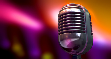 Vintage Microphone On Color Background
